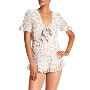 Lucca Couture floral print tie front romper